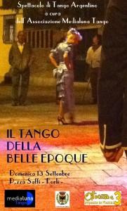 poster tango della belle epoque  con scritta SPETTACOLO
